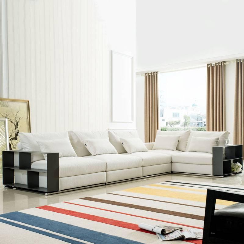 高檔布藝沙發組合現代小大戶型客廳l形簡約羽絨shafa