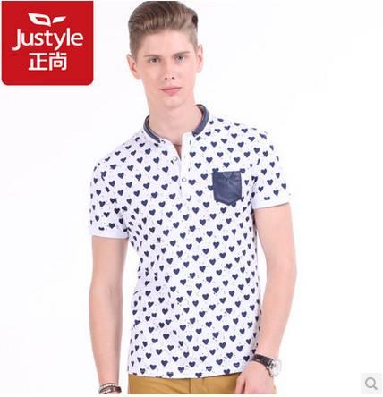 Justyle2014夏季新品英伦潮流时尚修身爱心印花小立领男士短袖T恤