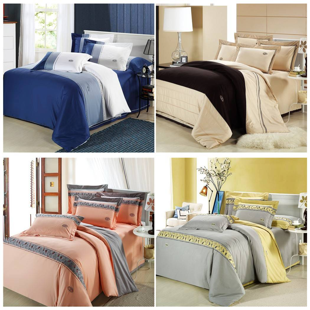 正品欧式床品四件套 全棉活性印花床单四件套 素色双拼床上四件套