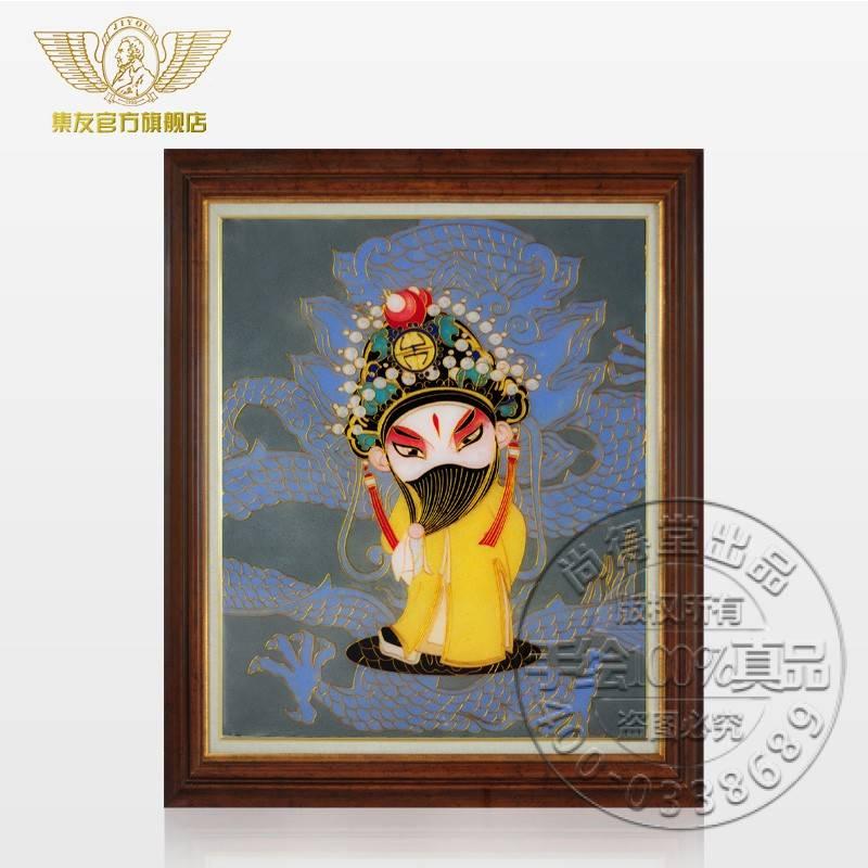 现代装饰画传统手绘景泰蓝工艺画国画花鸟客厅挂画墙
