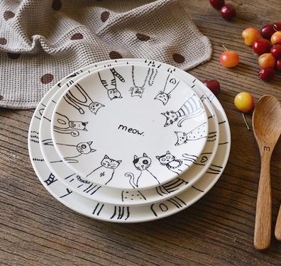 纯手绘陶瓷盘子 彩绘圆形陶瓷盘子 zakka厨房餐具 喵星人