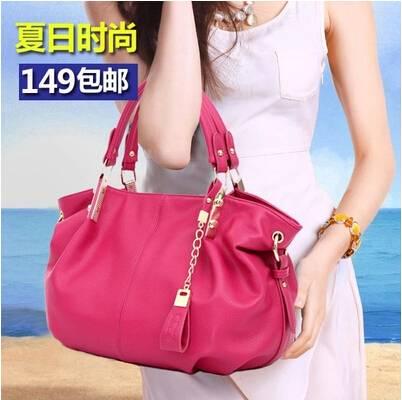 女士包包2015新款 流行夏软皮女包水饺包 休闲单肩斜挎手提包大包
