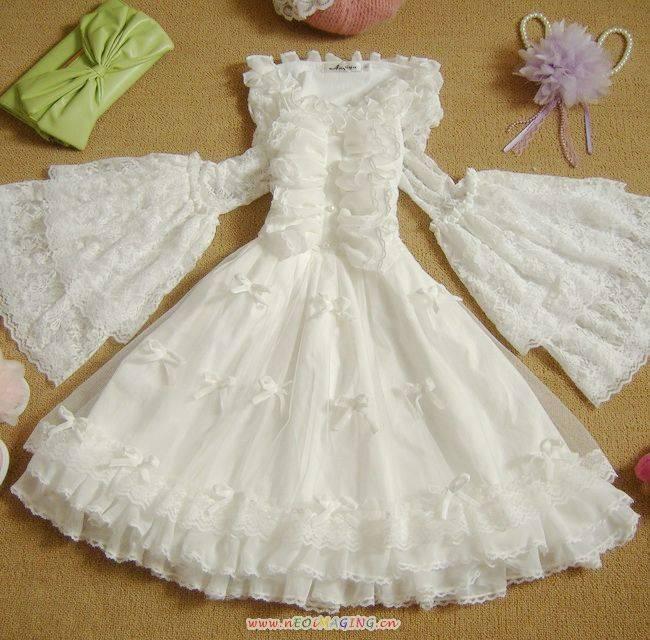 春夏甜美复古宫廷大喇叭袖动漫洛丽塔公主洋装高腰蕾丝连衣裙.