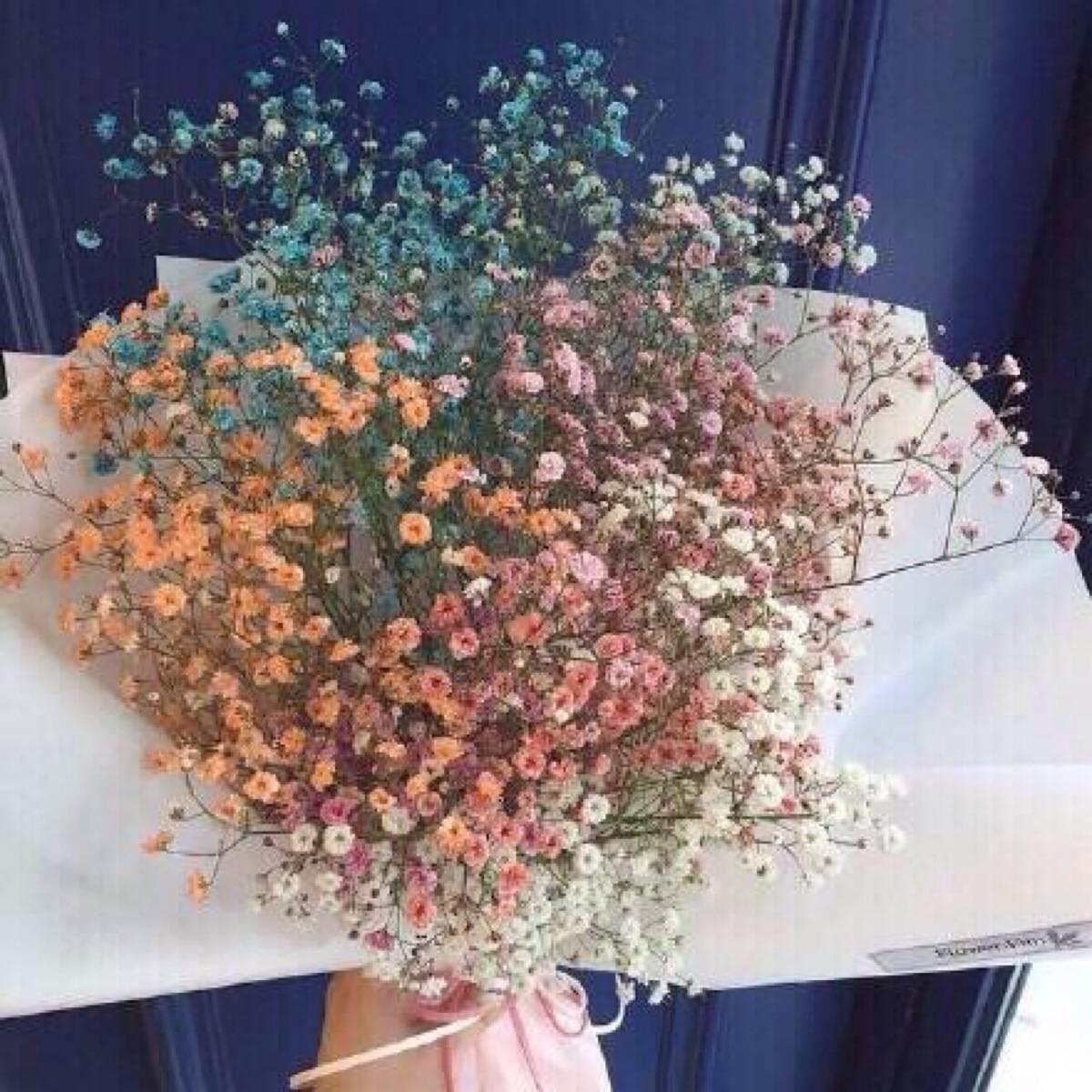 一枝独秀 天然真花干花花艺 满天星花束花篮 客厅装饰
