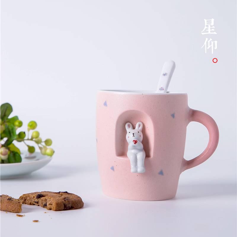 创意手绘陶瓷水杯3d立体可爱小动物马克杯子女生礼物情侣对杯包邮